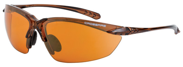 Crossfire Sniper Safety Glasses with Crystal Brown Frame and HD Copper Lens