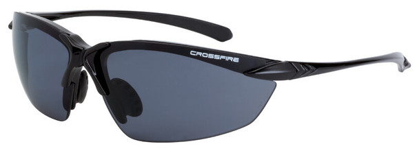 Crossfire Sniper Safety Glasses with Shiny Black Frame and Polarized Smoke Lens