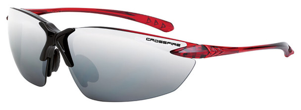 Crossfire Sniper Safety Glasses with Shiny Black/Red Frame and Silver Mirror Lens