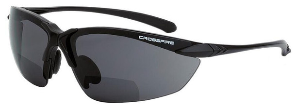 Crossfire Sniper Bifocal Safety Glasses with Matte Black Frame and Smoke Lens