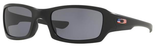 Oakley SI Fives Squared Sunglasses with Matte Black USA Flag Frame and Grey Lens