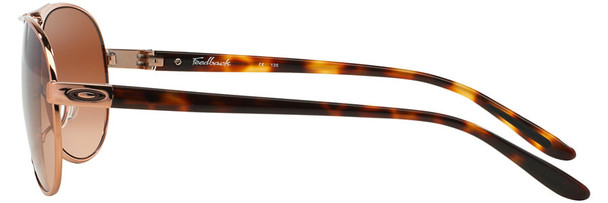 Oakley Feedback Sunglasses with Rose Gold Frame and VR50 Brown Gradient Lens - Side