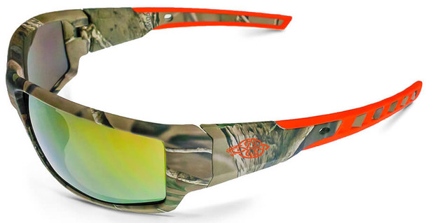 Crossfire Cumulus Safety Glasses with Camo Frame and Gold Mirror Lens