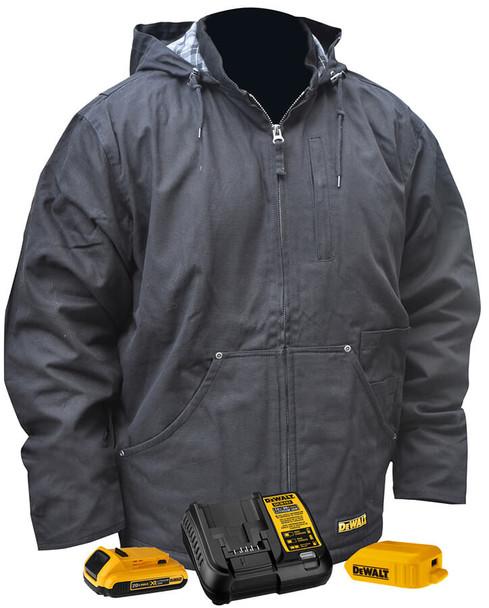 DeWalt Black Hooded Duck Cloth Heated Coat with Fleece Liner