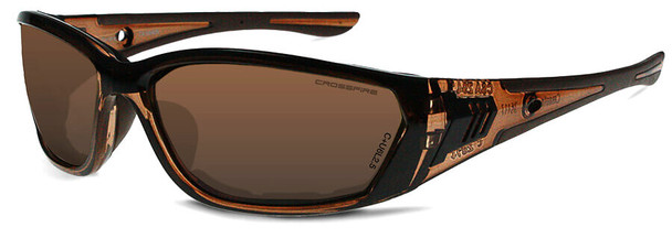 Crossfire 710 Foam Lined Safety Glasses with Crystal Brown Frame and Brown AF Lens