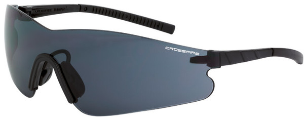 Crossfire Blade Safety Glasses with Black Temples and Smoke Anti-Fog Lens