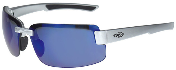 Crossfire ES6 Safety Glasses with Silver Gloss Frame and Blue Mirror Lens