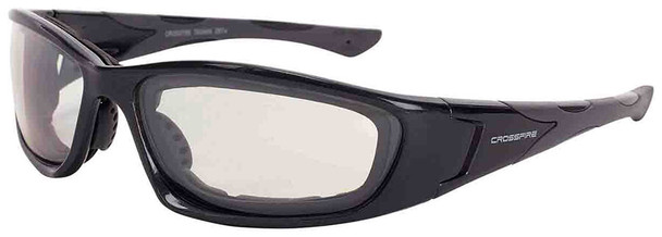 Crossfire MP7 Foam Lined Safety Glasses with Shiny Pearl Gray Frame and Indoor-Outdoor Anti-Fog lens