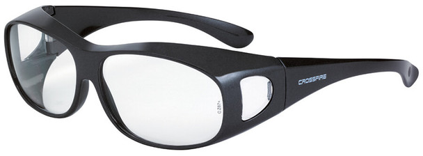 Crossfire OG3 OTG Safety Glasses with Shiny Pearl Gray Frame and Large Clear Lens