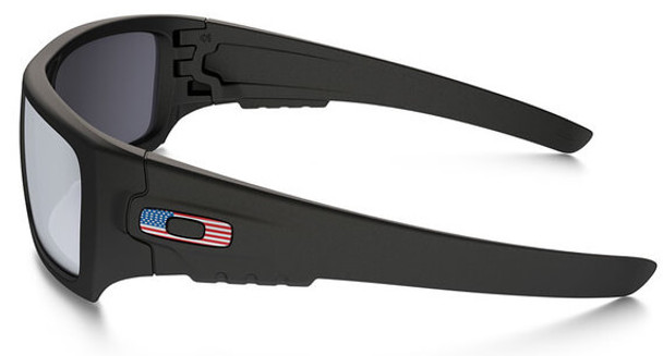 Oakley SI Ballistic Det Cord Sunglasses with Matte Black USA Flag Frame and Grey Lens - Side