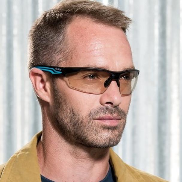 Bolle Tryon Safety Glasses Black & Blue Frame  CSP Anti-Fog Lens