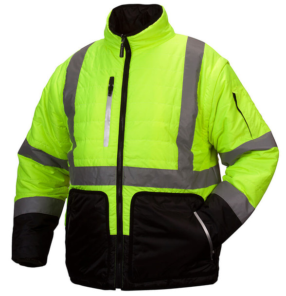 Pyramex RJR33 Type R Class 3 Black Bottom 4-In-1 Reversible Safety Jacket