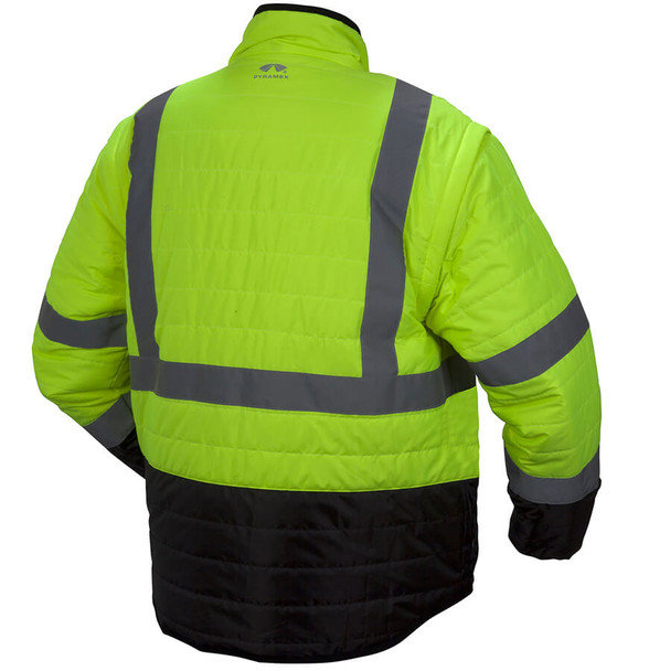 Pyramex RJR33 Type R Class 3 Black Bottom 4-In-1 Reversible Safety Jacket - Back