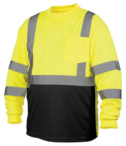 Pyramex RLTS31B Class 3 Hi-Viz Lime Long Sleeve Safety T-Shirt