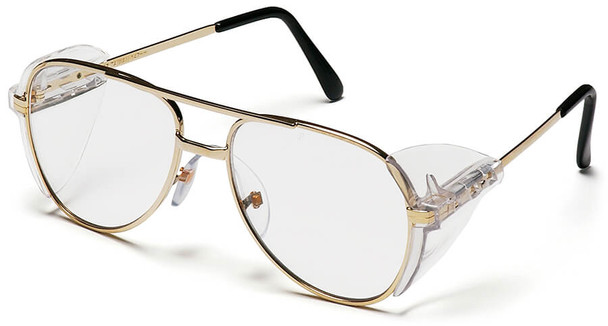 Pyramex Pathfinder Safety Glasses with Gold Metal Frame and Clear Lens