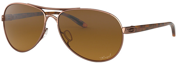 Oakley Feedback Sunglasses with Rose Gold Frame and VR50 Polarized Brown Gradient Lens