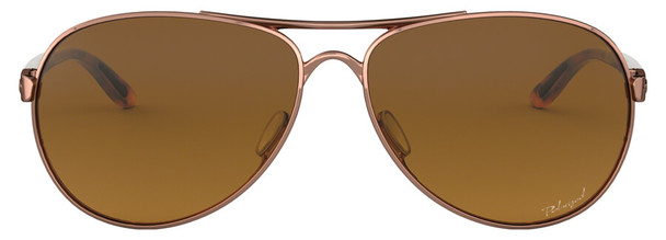 Oakley Feedback Sunglasses with Rose Gold Frame and VR50 Polarized Brown Gradient Lens - Front