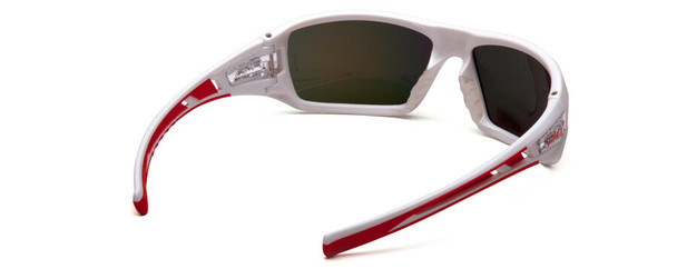 Pyramex Velar Safety Glasses with White/Red Frame and Sky Red Mirror Lens - Back