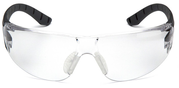 Pyramex Endeavor Plus Safety Glasses with Black/Gray Temples and Clear Lens - Front