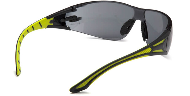 Pyramex Endeavor Plus Safety Glasses with Black/Green Temples and Gray Lens - Back