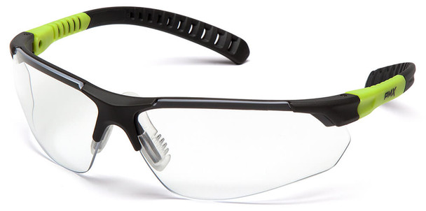 Pyramex Sitecore Safety Glasses with Gray/Lime Frame and Clear H2MAX Anti-Fog Lens