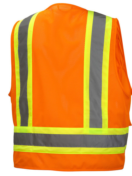 Pyramex RVZ24 Class 2 Hi-Viz Safety Vest, Orange Back