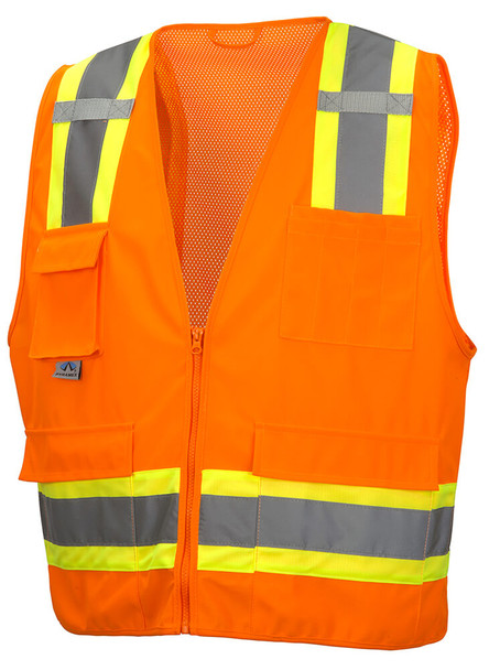 Pyramex RVZ24 Class 2 Hi-Viz Safety Vest, Orange