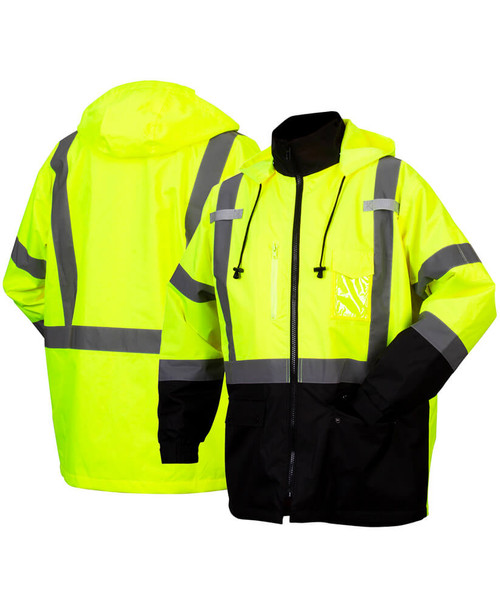 Pyramex RP31 Type R Class 3 Waterproof Parka Hi-Vis Lime - Front & Back