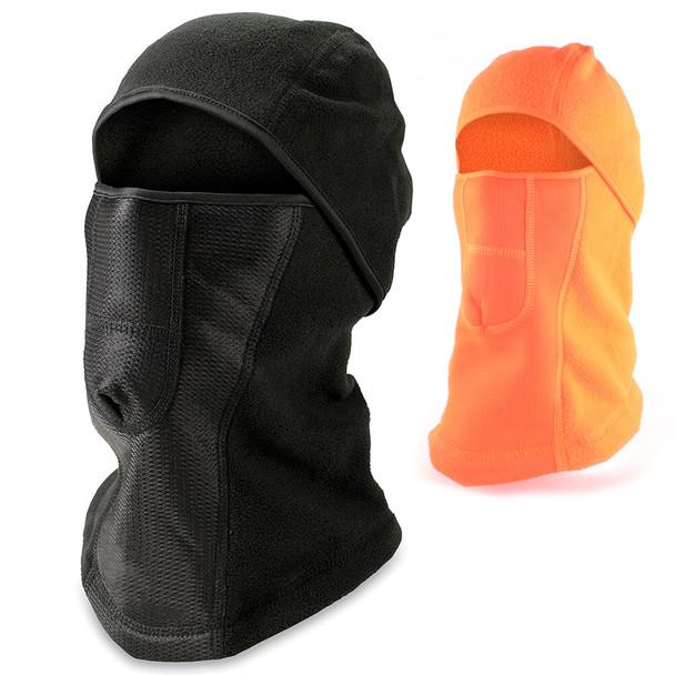 Pyramex Balaclava Cold Weather Fleece Face Mask - Black & Hi-Vis Orange