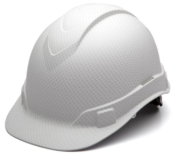 Pyramex Ridgeline Cap Style Hard Hat with 4-Point Ratchet Suspension - Matte White Graphite Pattern