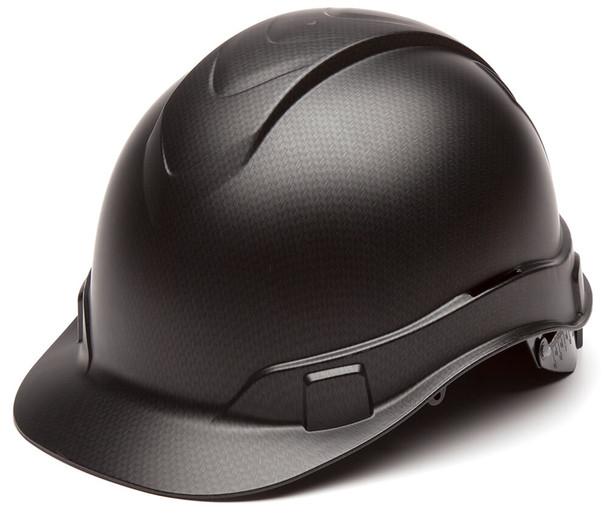 Pyramex Ridgeline Cap Style Hard Hat with 4-Point Ratchet Suspension - Matte Black Graphite Pattern