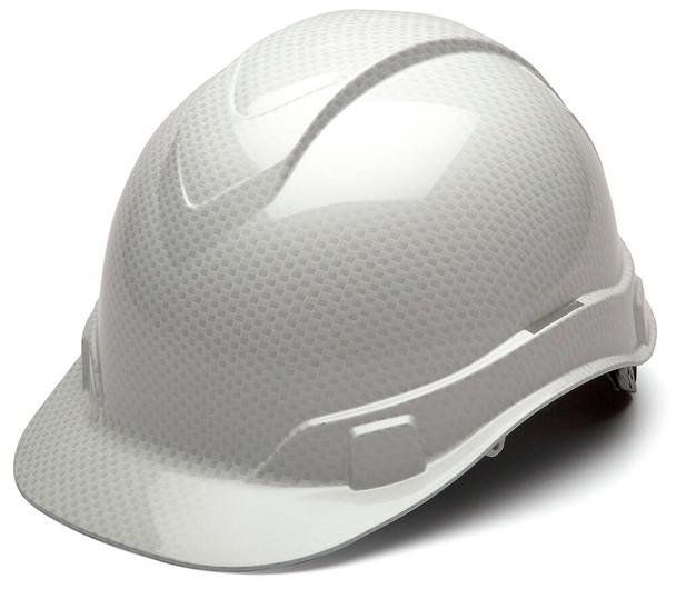 Pyramex Ridgeline Cap Style Hard Hat with 4-Point Ratchet Suspension - Shiny White Graphite Pattern