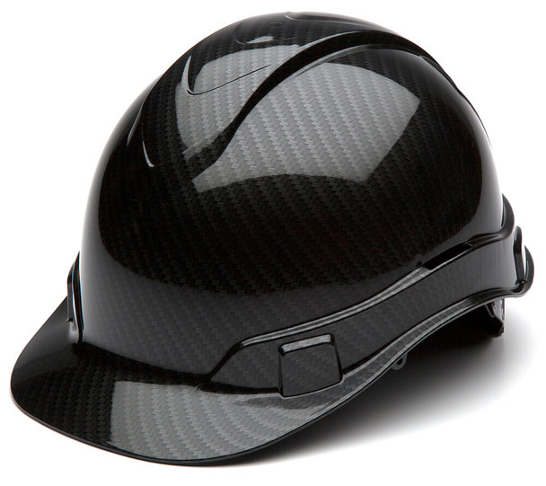 Pyramex Ridgeline Cap Style Hard Hat with 4-Point Ratchet Suspension - Shiny Black Graphite Pattern