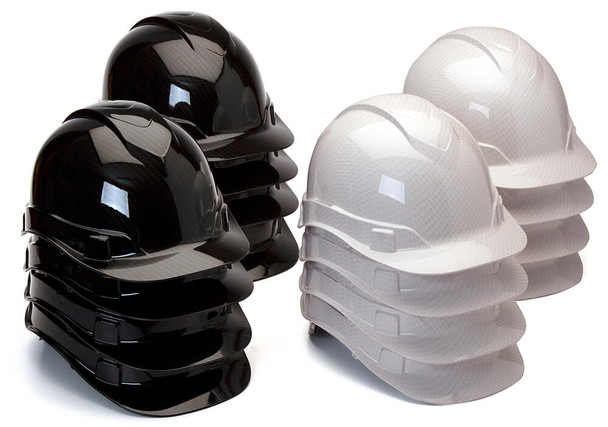 Pyramex Ridgeline Cap Style Hard Hat with 4-Point Ratchet Suspension - Shiny Mixed Case