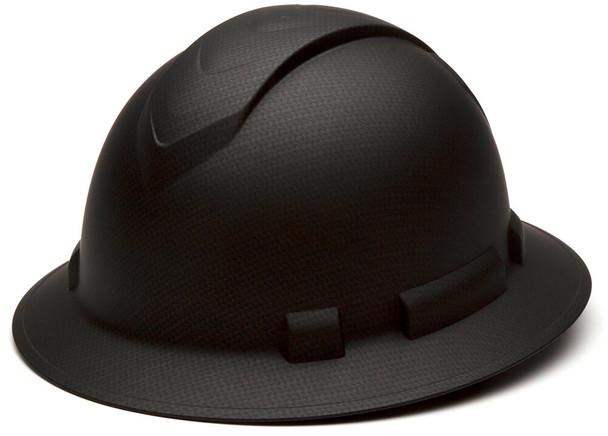 Pyramex Ridgeline Full Brim Hard Hat with 4-Point Ratchet Suspension - Matte Black Graphite Pattern