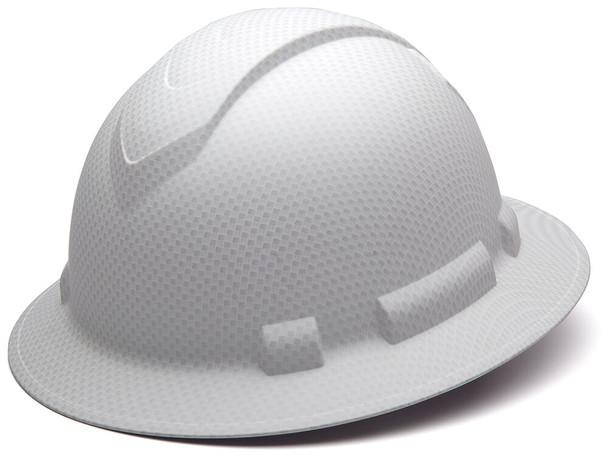 Pyramex Ridgeline Full Brim Hard Hat with 4-Point Ratchet Suspension - Matte White Graphite Pattern