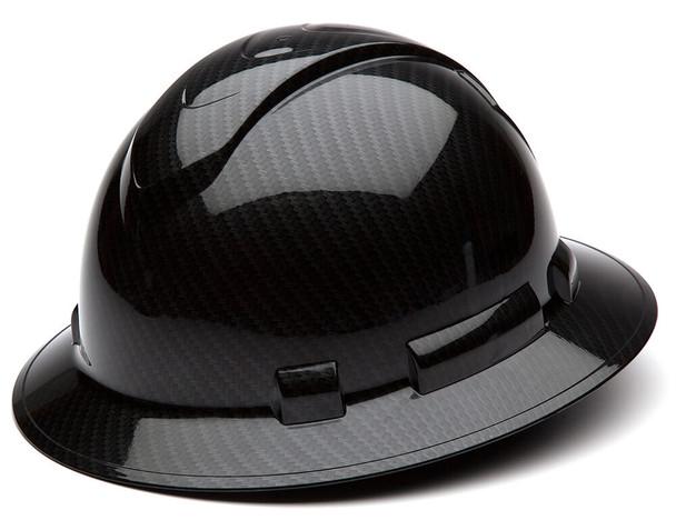 Pyramex Ridgeline Full Brim Hard Hat with 4-Point Ratchet Suspension - Shiny Black Graphite Pattern