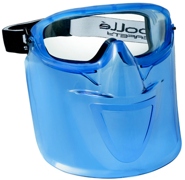 Bolle Blue Visor Shield for Atom Goggles shown with Atom Goggle Installed