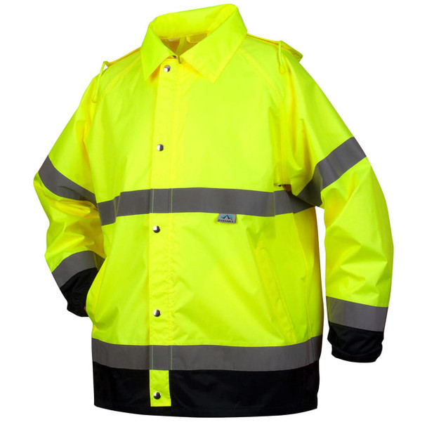 Pyramex RRWJ3110 Premium Hi-Vis Rain Jacket with Drawstring Hood - Front