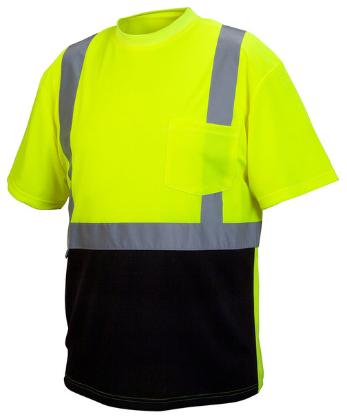 Pyramex RTS2110B Type R Class 2 Black Bottom Safety T-Shirt Hi-Vis Lime - Front