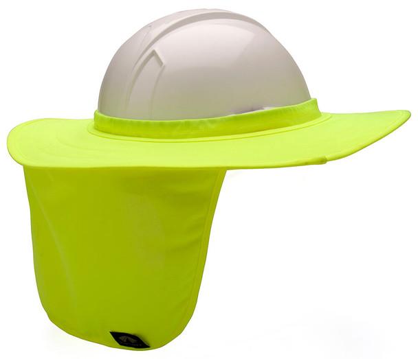 Pyramex HPSHADE Hard Hat Brim with Neck Shade - Hi-Vis Yellow/Lime