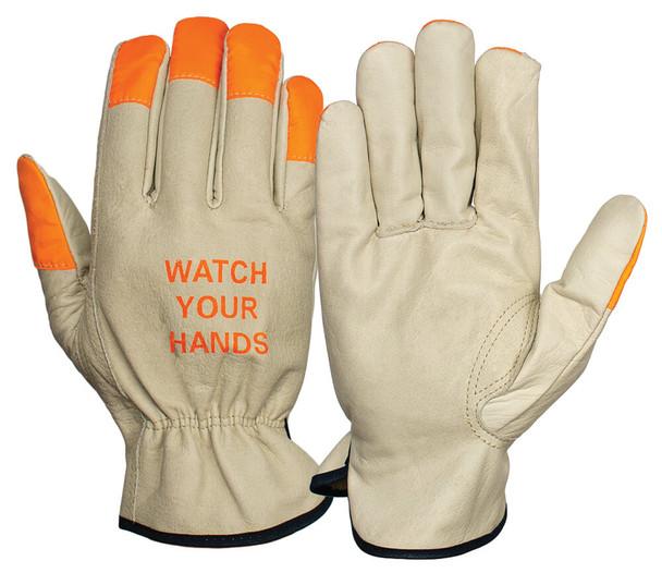 Pyramex GL2003K Grain Cowhide Leather Driver Gloves w/ Orange Finger Tips (12 Pair)