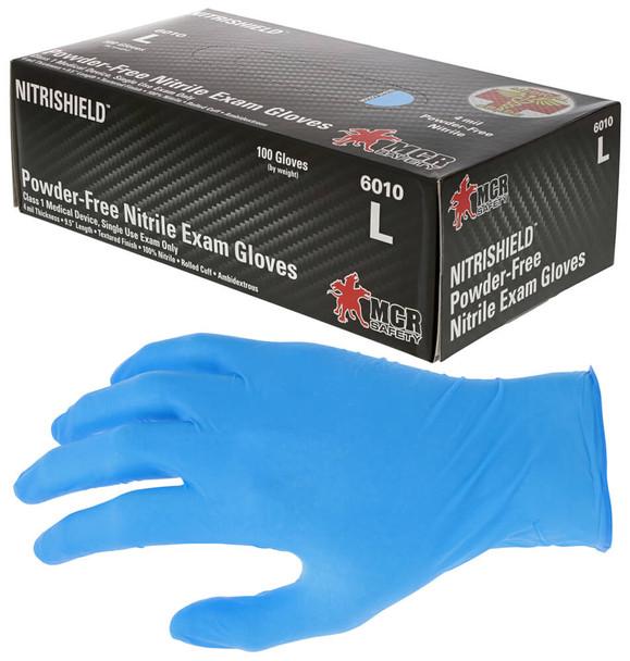 MCR NitriShield Disposable Gloves, Blue, Medical Grade, Powder Free, 4-Mil (Box 100)