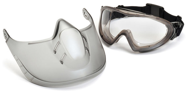 Pyramex Capstone Goggle with Face Shield and Clear H2X Anti-Fog Lens
