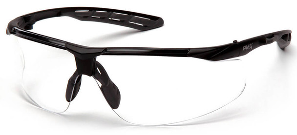 Pyramex Flex-Lyte Safety Glasses with Black/Gray Frame and Clear H2MAX Anti-Fog Lens