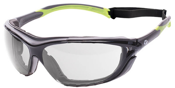 Encon Veratti Primo Foam-Padded Safety Glasses/Goggles with Gray/Green Frame and Clear Anti-Fog Lens