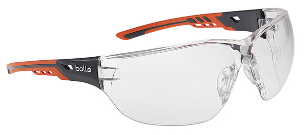Bolle Ness Plus Safety Glasses with Orange/Gray Temples and Clear Platinum Anti-Fog Lens NESSPPSI