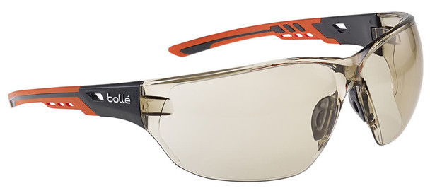 Bolle Ness Plus Safety Glasses with Orange/Gray Temples and CSP Platinum Anti-Fog Lens