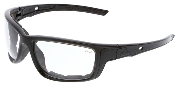 Crews Swagger SR5 Foam-Lined Safety Glasses with Black Frame and Clear MAX6 Anti-Fog Lens