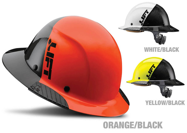Lift Safety Dax Carbon Fiber Full Brim Fifty 50 Hard Hat with 6-Point Suspension